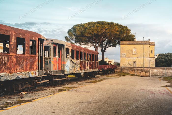 MANDURIA-ITALY/DECEMBER 2017: Abandoned train