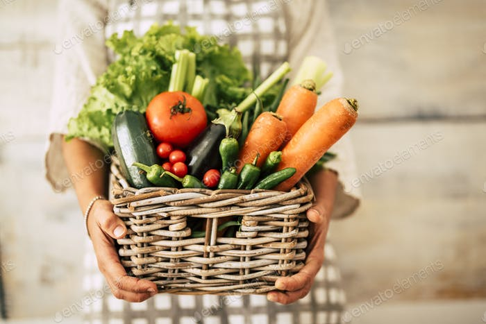 Ведро полно овощей