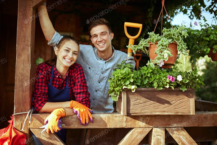 Glücklicher Kerl und Mädchen Gärtner stehen auf der hölzernen Veranda mit Pflanzen an einem sonnigen Tag