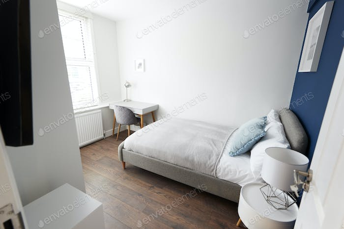 Modern bedroom, seen from doorway
