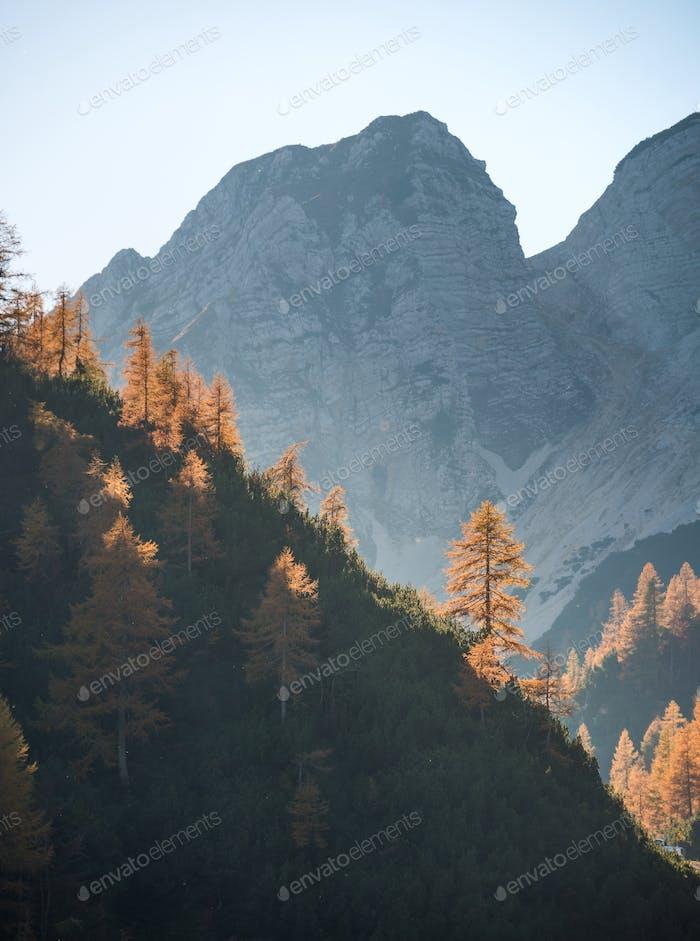 Autumn landscape scenery in the Julian Alps mountains