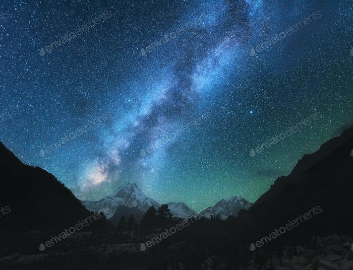 Milky Way. Amazing scene with himalayan mountains