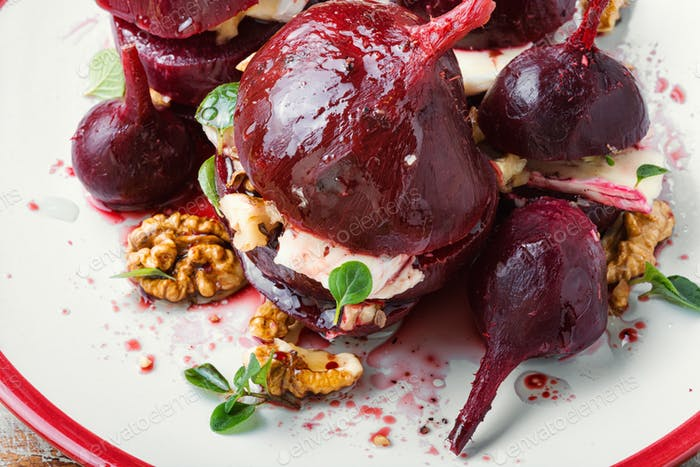 Appetizer of beetroot with cheese