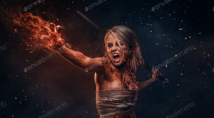 Fantasy woman warrior wearing rag cloth stained with blood and mud in the heat of battle