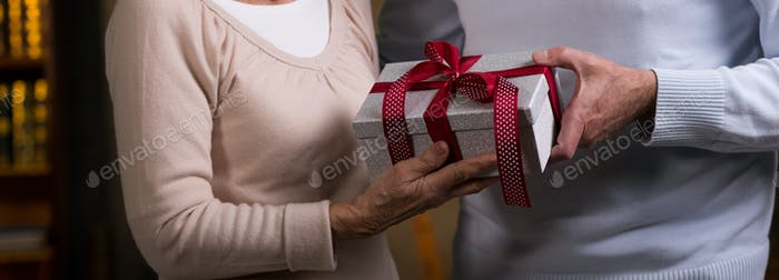 Elderly couple holding wrapped gift