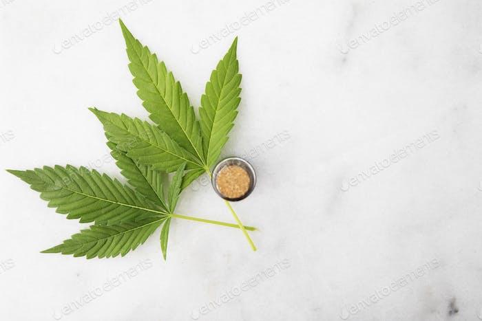 Cannabis Leaf Flat Lay