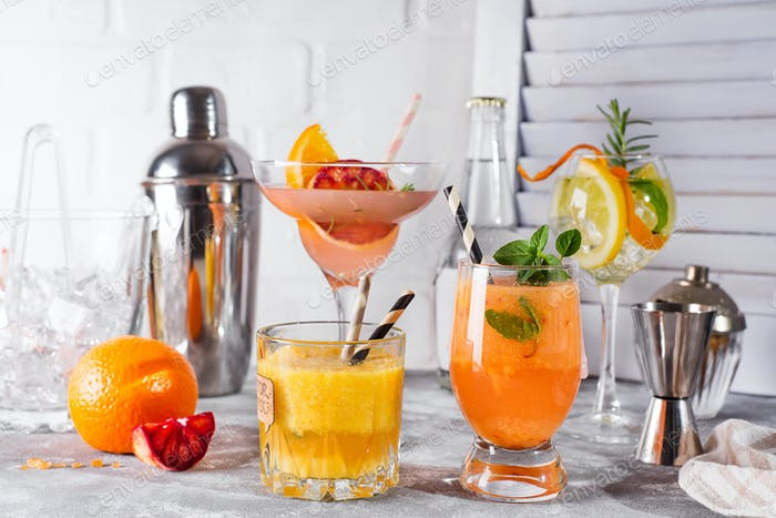 Refreshing summer cocktails with fruits and hot pepper, Bar accessories and fruits