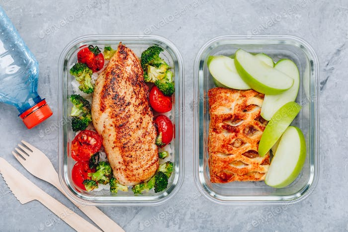Grilled chicken meal prep containers with riceand dessert pie with green apple