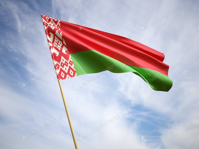 Waving the national flag of Belarus