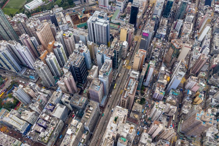Mong Kok, Hong Kong 21 March 2019: Aerial view of Hong Kong city