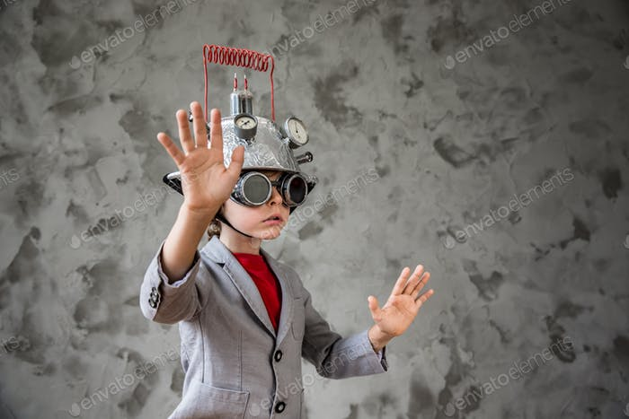 Child with toy virtual reality headset