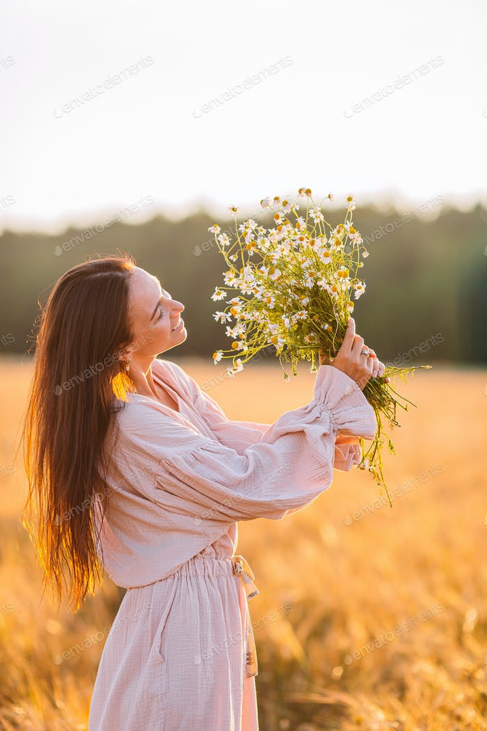 Portrait of beautiful woman in summer day