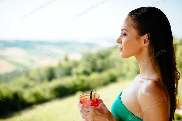 Woman enjoying landscape view