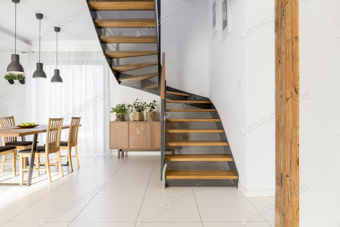 White apartment with staircase