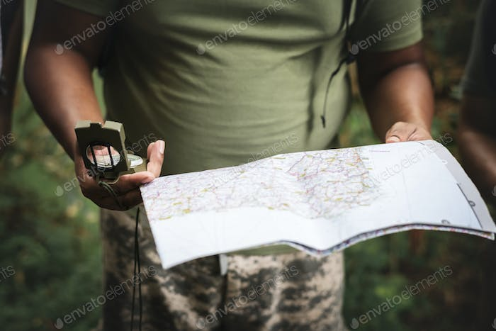Checking on the map for directions