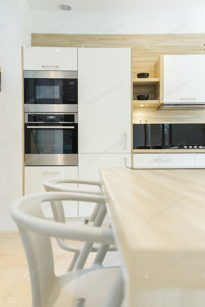 Modern kitchen with built-in oven