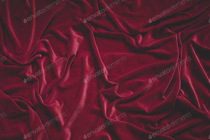 Detail of crumpled red velvet fabric