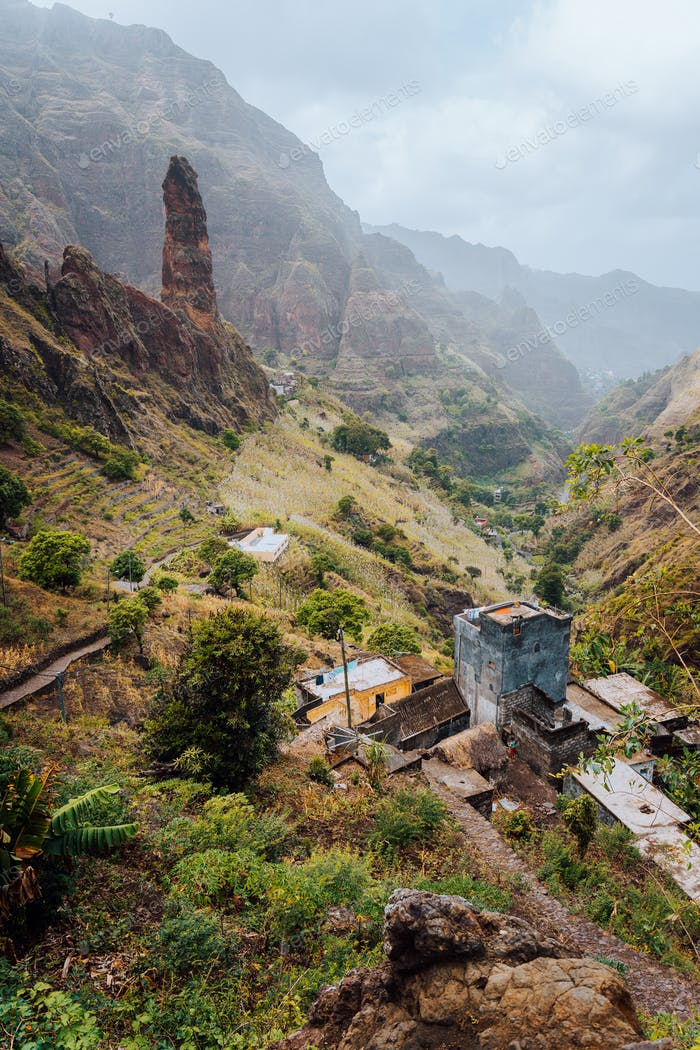 Areal view of Xo-Xo valley of Santa Antao island, Cape Verde. buildings in the lowland between high