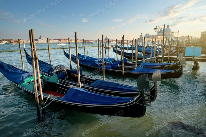 Venetian gondolas at sunset