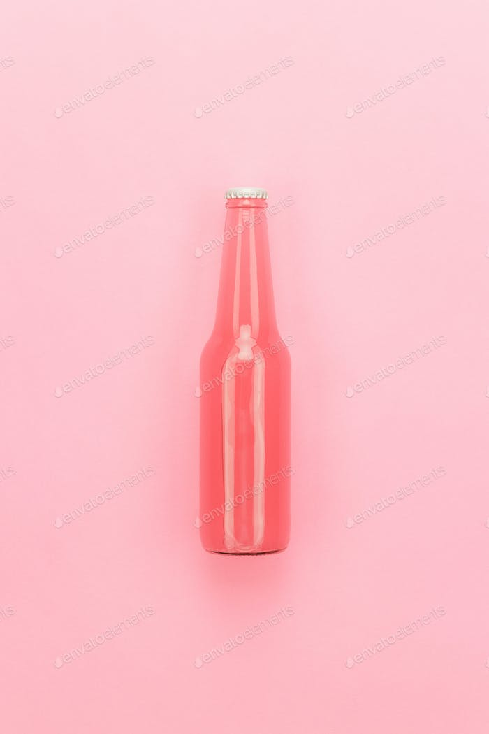 Glass Bottle Of Pink Sweet Drink