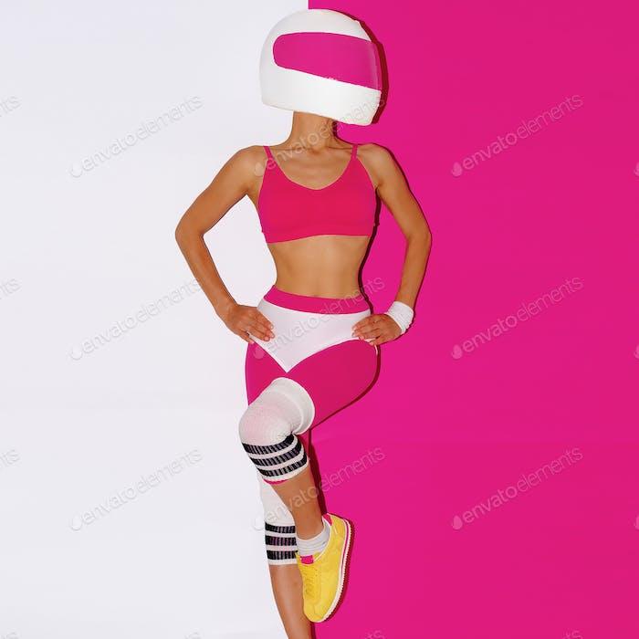 Thumbnail for Fitness and Moto. Girl in helmet. Minimal art.