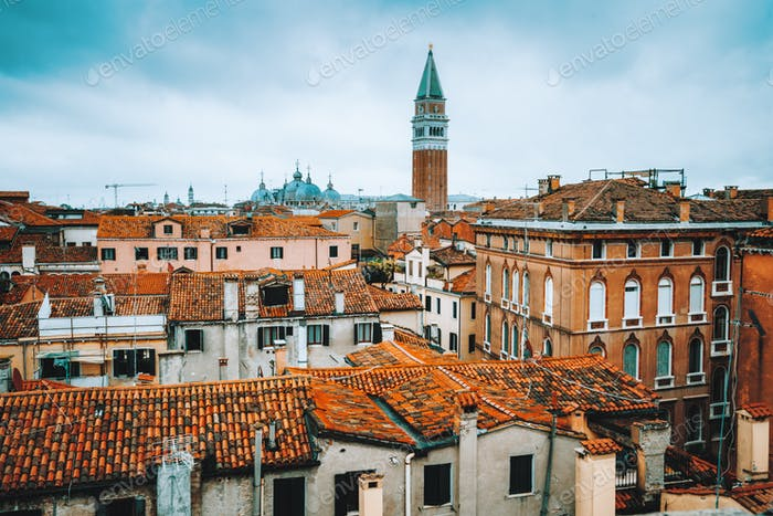 Venice, Italy. Rooftop view, roofs of traditional old houses in Venice. Venezia, overlooking houses