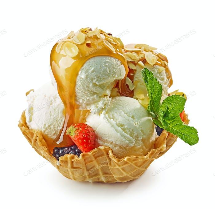vanilla ice cream in waffle basket