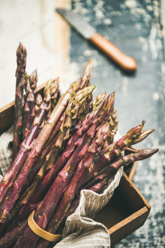 Fresh raw uncooked purple asparagus, selective focus