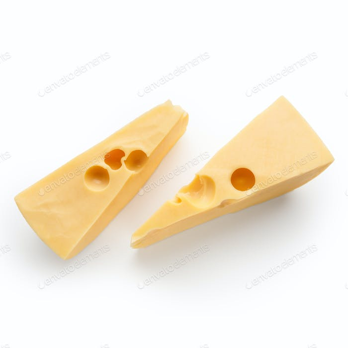 Pieces of cheese on white
