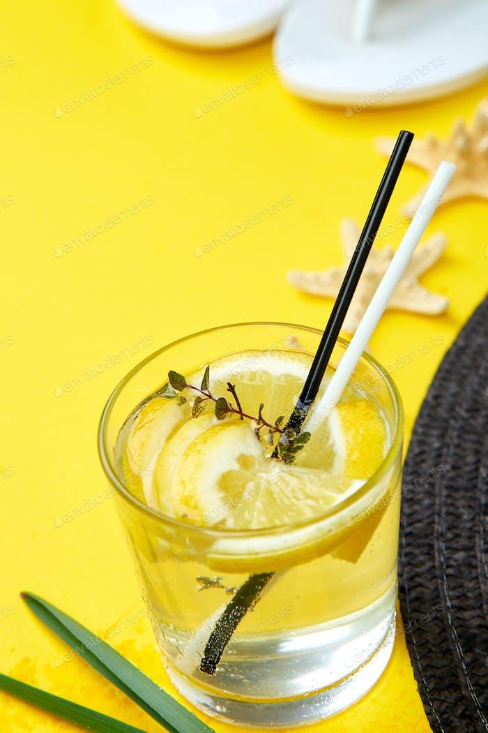 Cold cocktail, lemonade with lemon