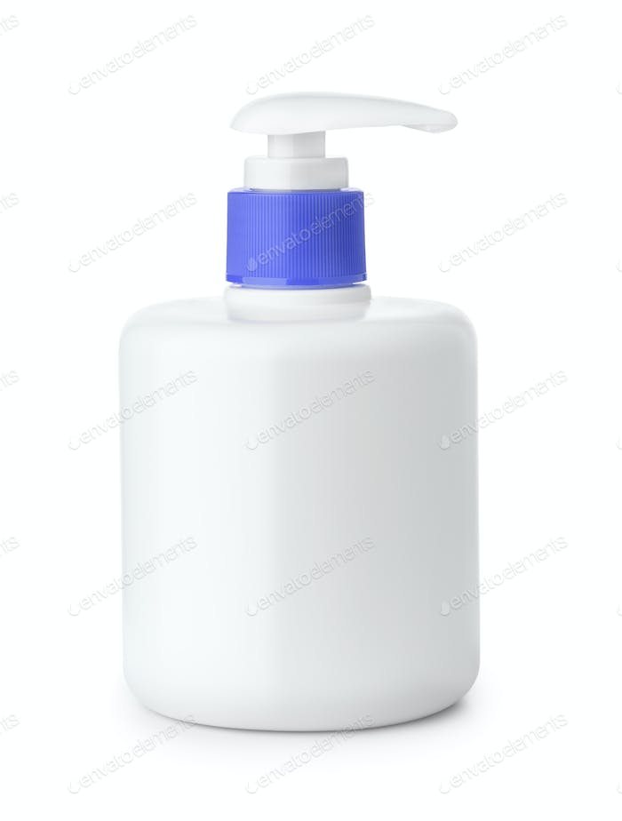 Blank plastic bottle of liquid soap with  pump dispenser