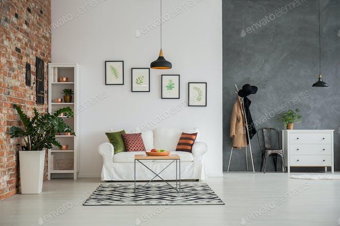 Grey and white loft interior