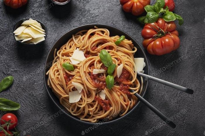 Traditional Italian pasta with tomato sauce