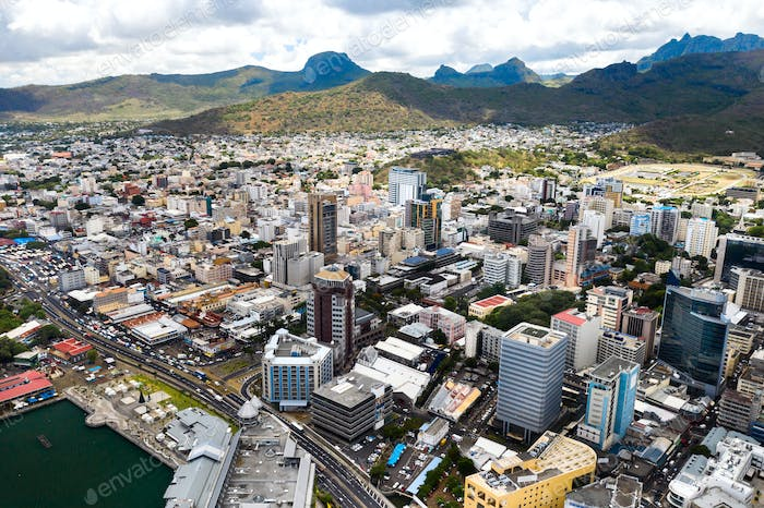 Aerial view of the city of Port-Louis, Mauritius, Africa