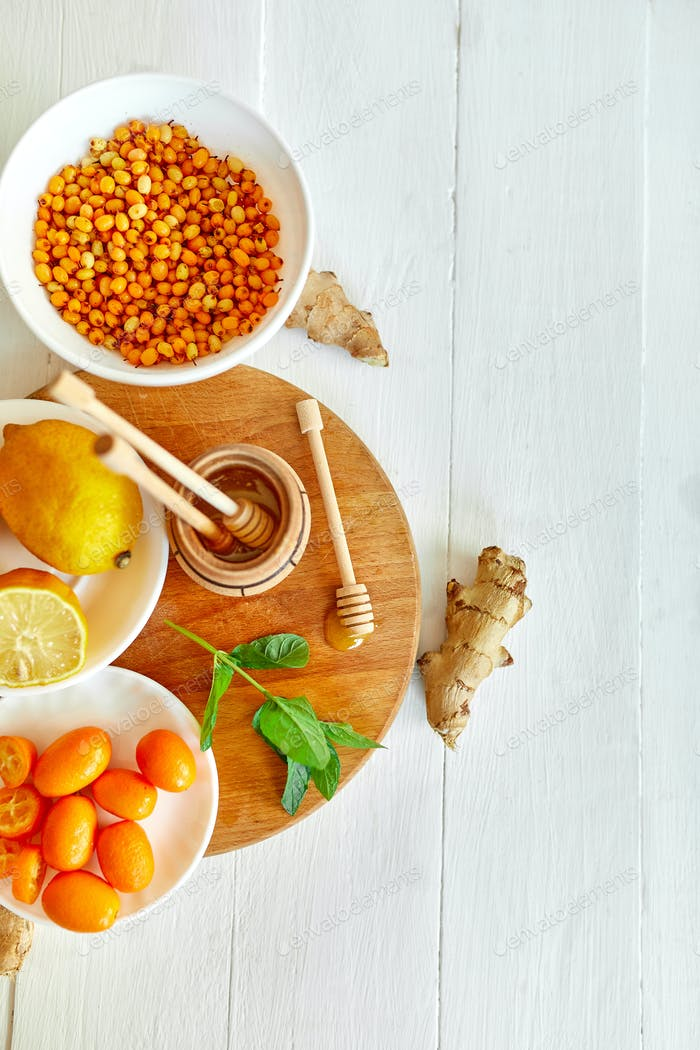 Trendy virus protection food, coronavirus, immunity concept.