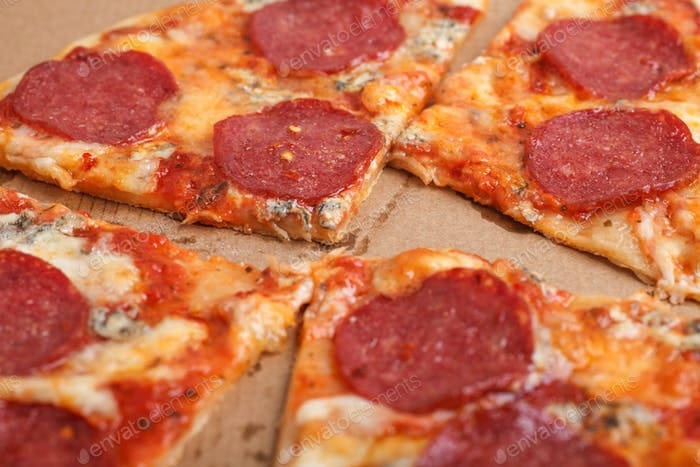 tasty delicious pizza pepperoni macro photo