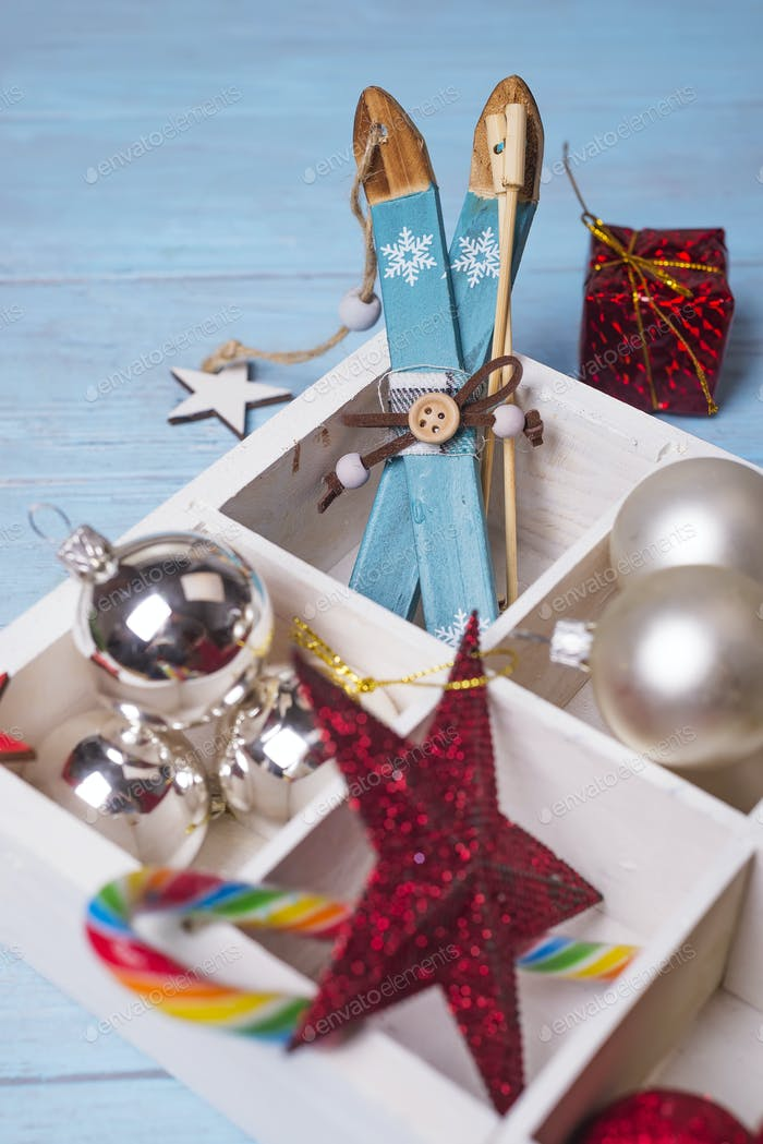 Christmas toys in a wooden box.