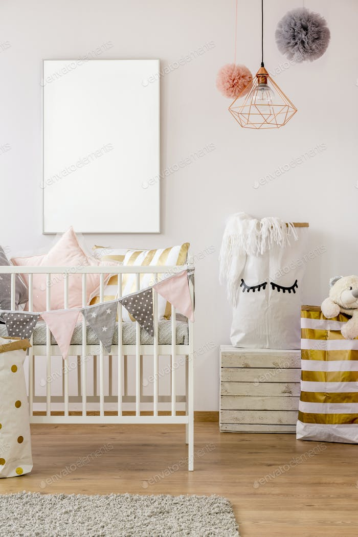 Scandi toddler bedroom with cot
