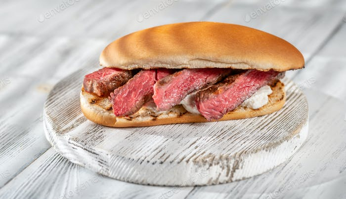 Sandwich with sliced beef steak
