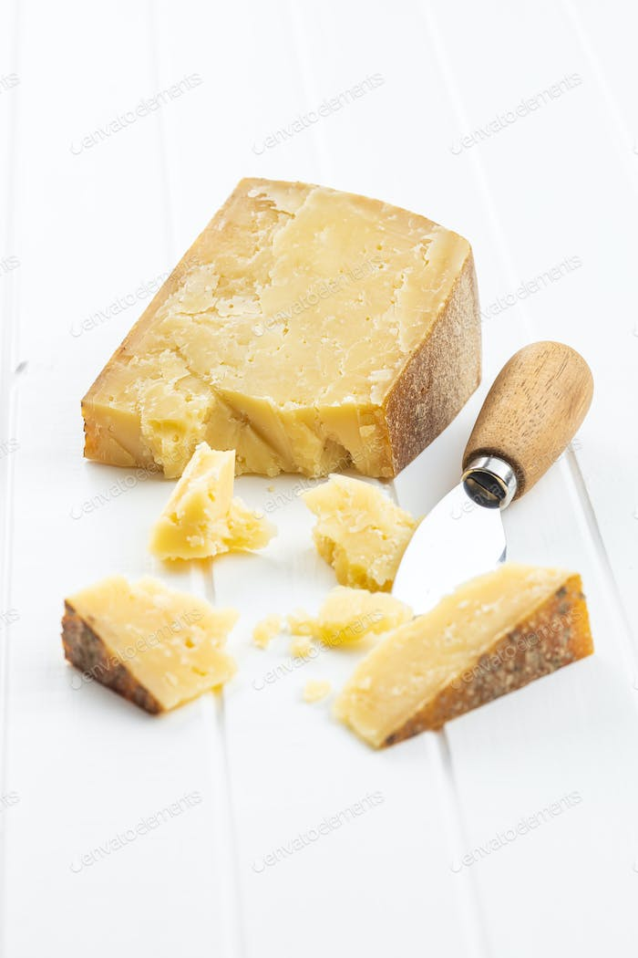 Crushed block of cheese