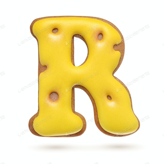 Capital letter R yellow gingerbread biscuit isolated on white.