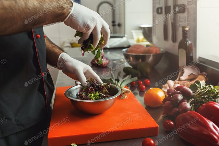 Chef making fresh vegetables mix salad