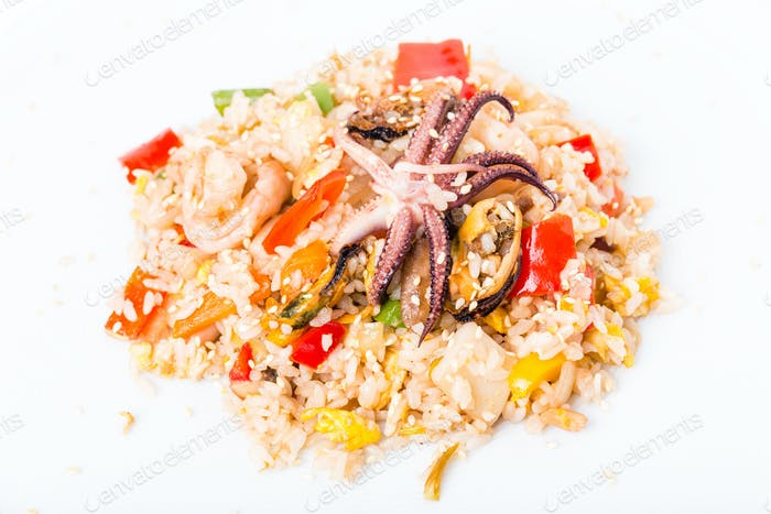 Risotto with seafood and vegetables.