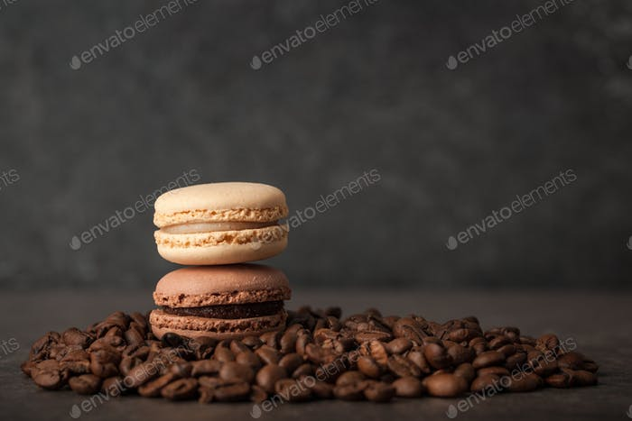 French macaroons on coffee beans
