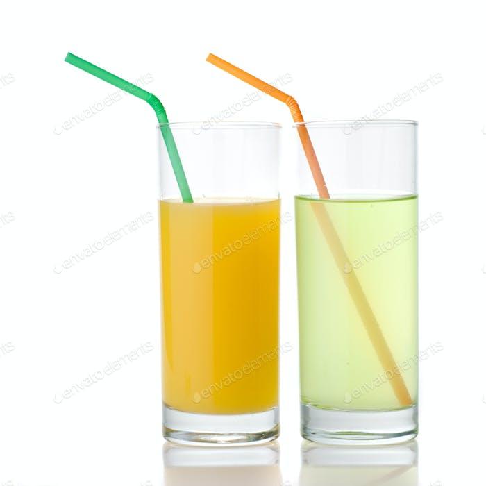 lime and orange juice isolated on white