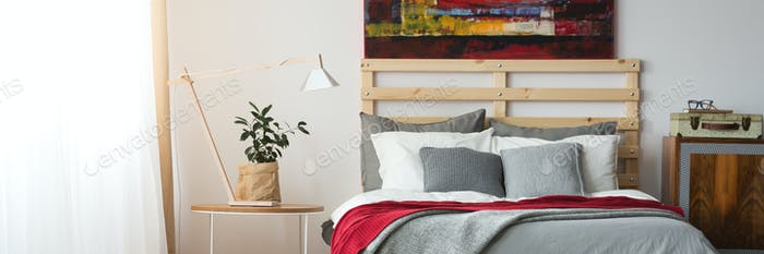 Red and grey bed