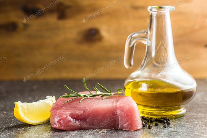 Fresh raw tuna steak.