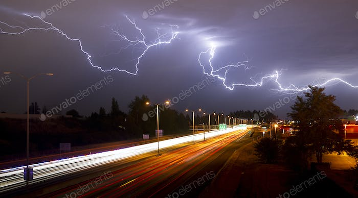 Rare Thunderstorm Producing Lightning Over Tacoma Washington I-5