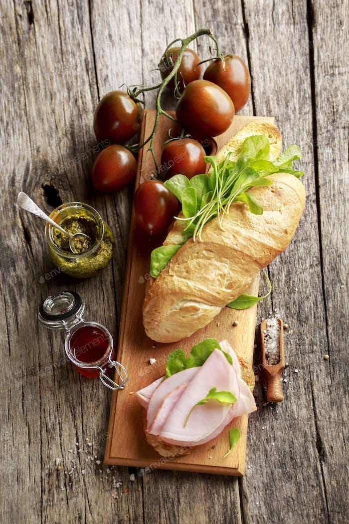 Baguette, ham and vegetables