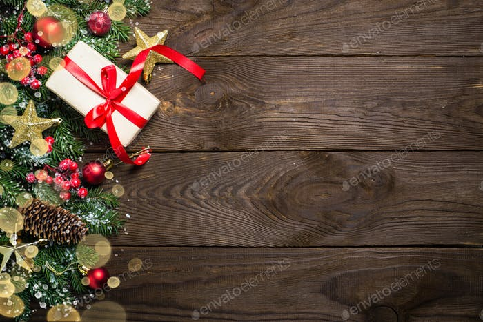 Christmas background with present and decorations